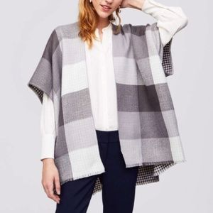 LOFT Checkered Grey Poncho Reversible Cardigan Top